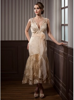 Trumpet/Mermaid V-neck Tea-Length Satin Lace Wedding Dress With Sash Beading Appliques Lace Flower(s)