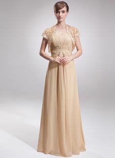 Império Coração Chá comprimento De chiffon Vestido para a mãe da noiva com Pregueado Renda