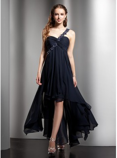 Empire One-Shoulder Asymmetrical Chiffon Homecoming Dress With Lace Beading Cascading Ruffles