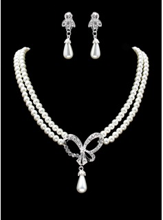 Jewelry Sets Anniversary Wedding Engagement Birthday Gift Party Daily Alloy With Rhinestones Silver Jewelry With Pearl Rhinestone (011019398)