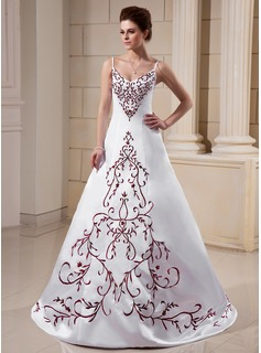 A-Line/Princess V-neck Sweep Train Satin Wedding Dress With Embroidered