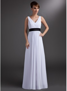 A-Line/Princess V-neck Floor-Length Chiffon Bridesmaid Dress With Sash (007001859)