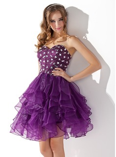 A-Line/Princess Sweetheart Knee-Length Organza Charmeuse Cocktail Dress With Beading (016013753)
