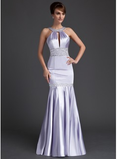 Mermaid Scoop Neck Sweep Train Charmeuse Evening Dress With Ruffle Beading Sequins (017002265)