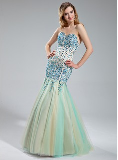 Mermaid Sweetheart Floor-Length Satin Tulle Prom Dress With Beading (018019000)