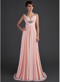 A-Line/Princess Scoop Neck Sweep Train Chiffon Mother of the Bride Dress With Ruffle Beading (008015645)