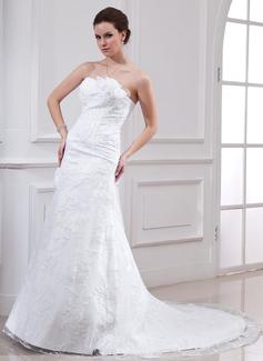 Vestidos princesa/ Formato A Coração Cauda longa Cetim Renda Vestido de noiva com Bordado fecho de correr