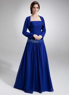 Vestidos princesa/ Formato A Sem Alças Chá comprimento De chiffon Vestido para a mãe da noiva com Bordado Lantejoulas