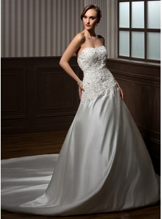 Ball-Gown Sweetheart Chapel Train Charmeuse Wedding Dress With Lace Beadwork (002000254)