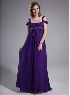Empire Off-the-Shoulder Sweep Train Chiffon Evening Dress With Ruffle Beading (018025631)
