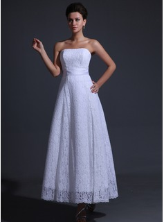 A-Line/Princess Sweetheart Ankle-Length Charmeuse Lace Bridesmaid Dress With Sash (007017311)