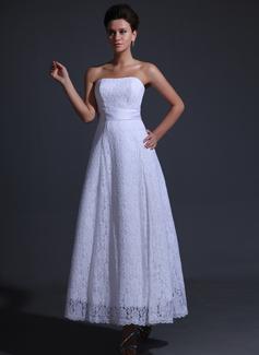 Corte A/Princesa Estrapless larga duración Charmeuse Encaje Vestido de novia con Lazo(s)