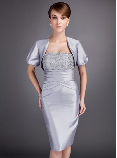 Sheath Strapless Knee-Length Taffeta Mother of the Bride Dress With Ruffle Lace Beading (008005750)