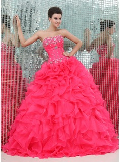 Ball-Gown Sweetheart Floor-Length Organza Satin Quinceanera Dress With Ruffle Beading (021017439)