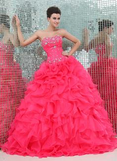 Duchesse-Linie Herzausschnitt Bodenlang Organza Satin Quinceañera Kleid (Kleid für die Geburtstagsfeier) mit Perlen verziert Gestufte Rüschen