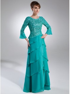 A-Line/Princess Scoop Neck Sweep Train Chiffon Lace Mother of the Bride Dress (008006159)