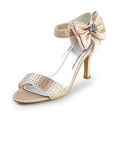 De mujer Satén Tacón Stilettos Encaje Sandalias con Lazo Diamantes de imitación