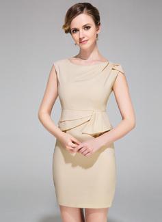 Sheath/Column Scoop Neck Short/Mini Chiffon Cocktail Dress With Ruffle