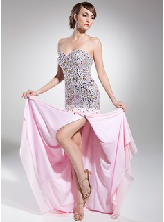 A-Line/Princess Sweetheart Sweep Train Chiffon Prom Dress With Beading (018014715)