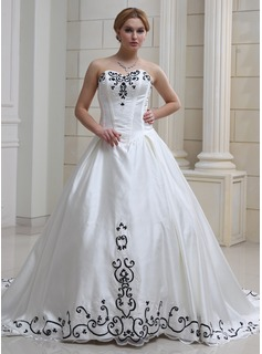 Ball-Gown Sweetheart Chapel Train Satin Tulle Wedding Dress With Embroidery Beadwork Sequins (002012633)