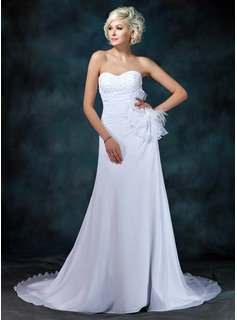 A-Line/Princess Sweetheart Court Train Chiffon Wedding Dress With Ruffle Lace Beadwork Flower(s)