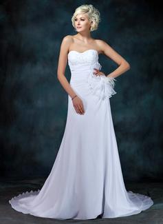 Corte A/Princesa Escote corazón Tren de la corte Chifón Vestido de novia con Encaje Bordado Flores Plisado