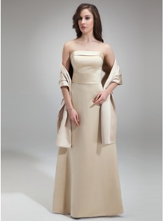 Sheath Strapless Floor-Length Satin Bridesmaid Dress (007001827)