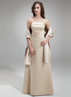Vestido tubo Estrapless Hasta el suelo Satén Dama de honor