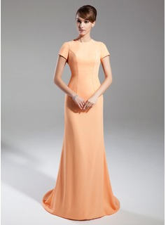 Sheath Scoop Neck Court Train Chiffon Mother of the Bride Dress (008015391)