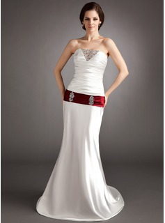 Sheath/Column Sweetheart Sweep Train Tulle Charmeuse Wedding Dress With Ruffle Sashes Beadwork Sequins