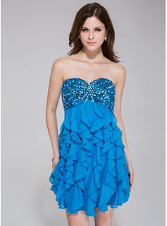 Empire Sweetheart Short/Mini Chiffon Sequined Homecoming Dress With Beading Cascading Ruffles