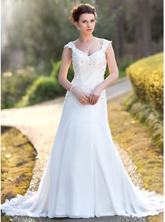 A-Line/Princess V-neck Court Train Chiffon Wedding Dress With Lace Beadwork Sequins