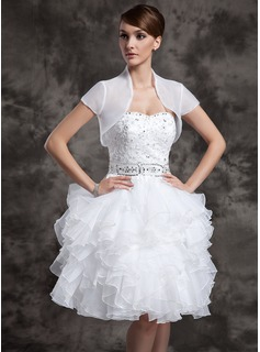 A-Line/Princess Sweetheart Knee-Length Organza Satin Wedding Dress With Beadwork Sequins (002024083)