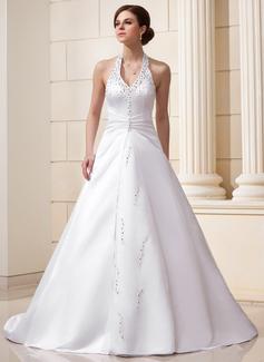 Corte A/Princesa Cabestro Cola capilla Satén Vestido de novia con Volantes Bordado Lentejuelas