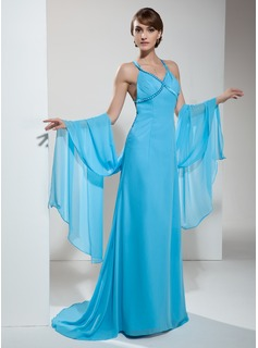 Sheath V-neck Watteau Train Chiffon Prom Dress With Ruffle Beading (018002508)