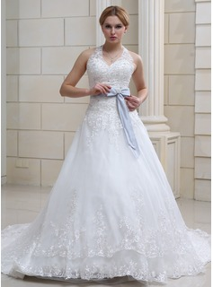 Ball-Gown Halter Chapel Train Organza Satin Wedding Dress With Lace Sash Crystal Brooch