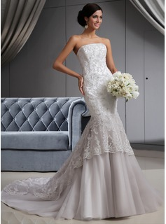 Mermaid Strapless Chapel Train Satin Tulle Wedding Dress With Lace Beadwork