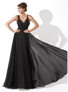 A-Line/Princess V-neck Floor-Length Chiffon Tulle Prom Dress With Ruffle Lace Beading