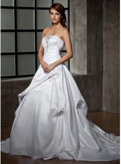 Ball-Gown Strapless Chapel Train Taffeta Wedding Dress With Ruffle Lace Beading