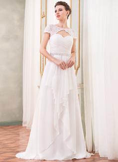 Corte A/Princesa Escote redondo Barrer/Cepillo tren Chifón Encaje Vestido de novia con Bordado Lentejuelas Cascada de volantes