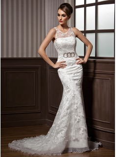 Trumpet/Mermaid Scoop Neck Court Train Organza Satin Lace Wedding Dress With Ruffle Beading Bow