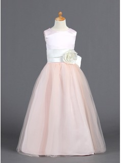 A-Line/Princess Scoop Neck Floor-Length Satin Tulle Flower Girl Dress With Ruffle Sash Flower(s)