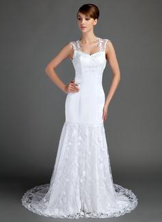 Corte trompeta/sirena Escote corazón Cola capilla Satén Encaje Vestido de novia