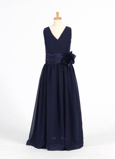 A-Line/Princess V-neck Floor-Length Chiffon Flower Girl Dress With Flower(s)
