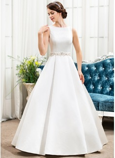 Balklänning Rund-urringning Golvlång Satäng Bröllopsklänning med Pärlbrodering Paljetter