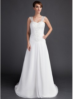 A-Line/Princess Sweetheart Court Train Chiffon Wedding Dress With Ruffle Lace Beading