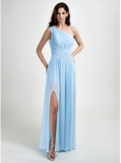 A-Line/Princess One-Shoulder Floor-Length Chiffon Prom Dress With Ruffle Split Front