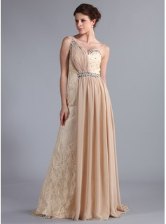 A-Line/Princess One-Shoulder Watteau Train Chiffon Lace Evening Dress With Ruffle Beading (017025336)