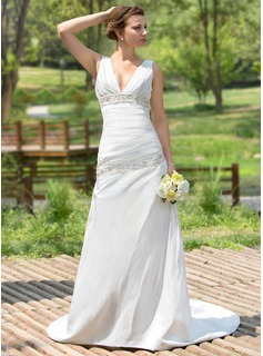 A-Line/Princess V-neck Court Train Taffeta Wedding Dress With Ruffle Beadwork Sequins (002001407)