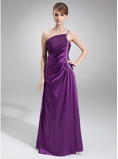 A-Line/Princess One-Shoulder Floor-Length Charmeuse Mother of the Bride Dress With Ruffle Beading (008016864)